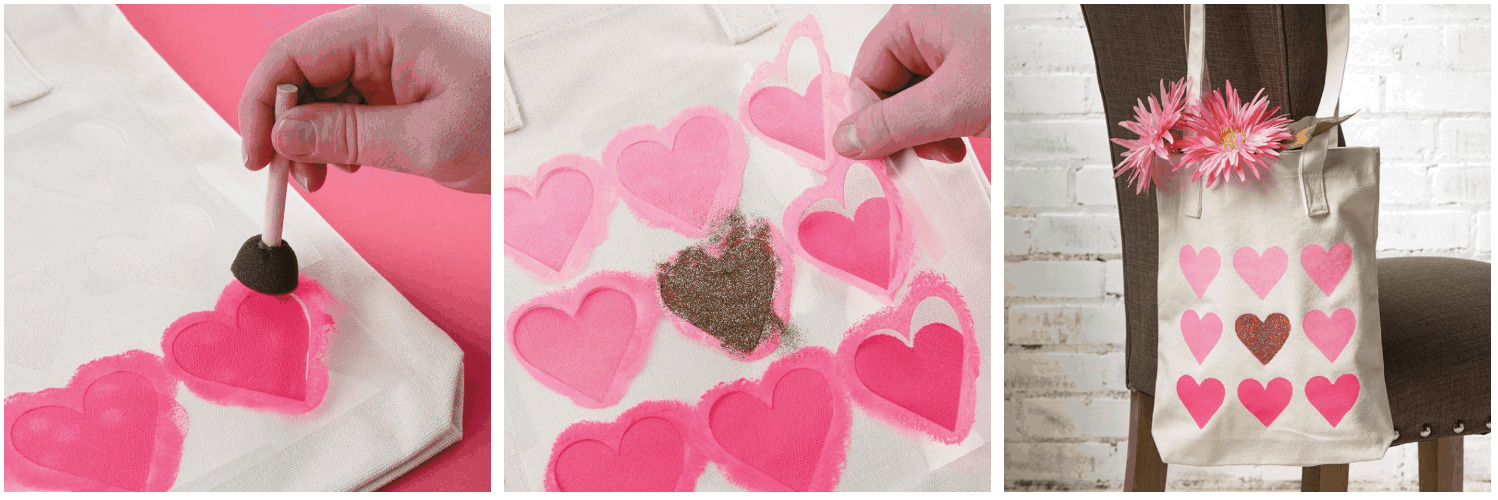 Girls craft with pink hearts.