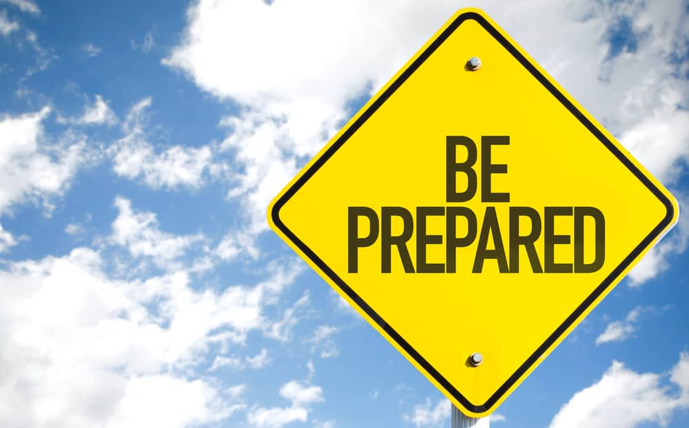"Sign that reads, ""Be Prepared.\"""