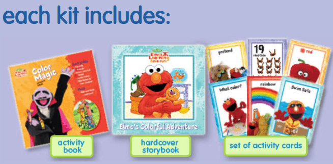 Elmo\'s learning adventure kits for children.