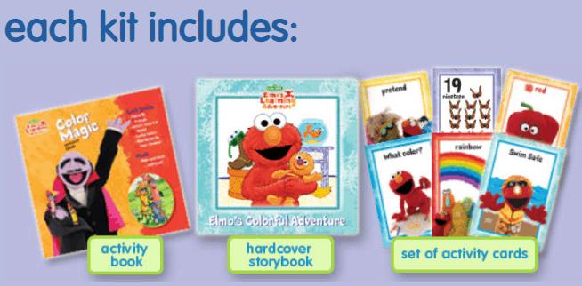 Elmo\'s learning adventure kits for children.