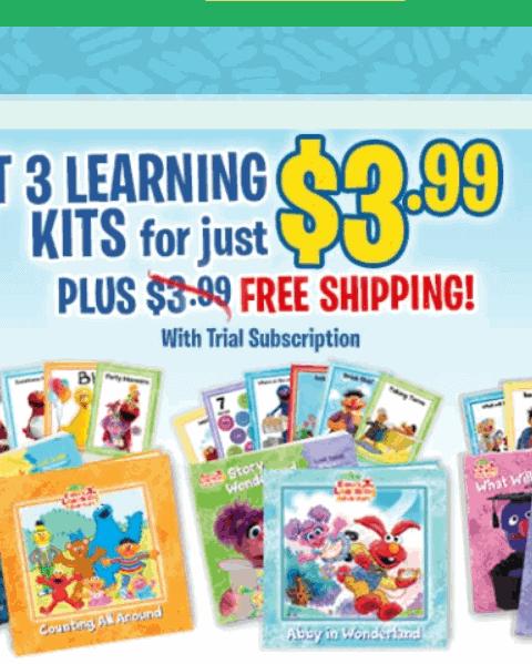 Elmo's learning adventure kits for children.