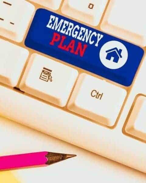 keyboard wiht a key that says Emergency Plan on it