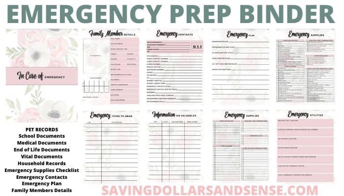 Emergency Preparedness Plan Binder