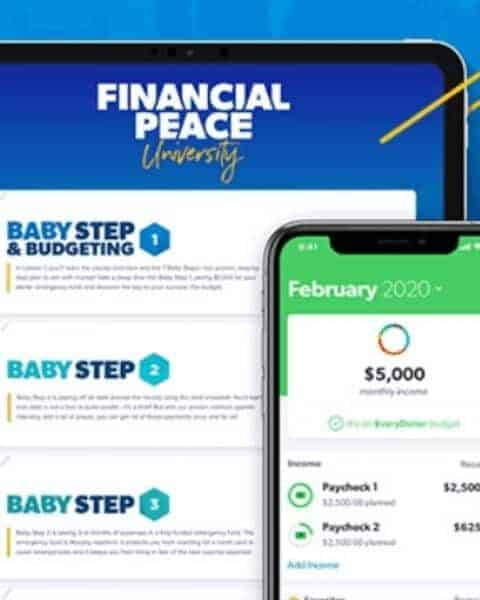 tablet and phone showing financial peace university app
