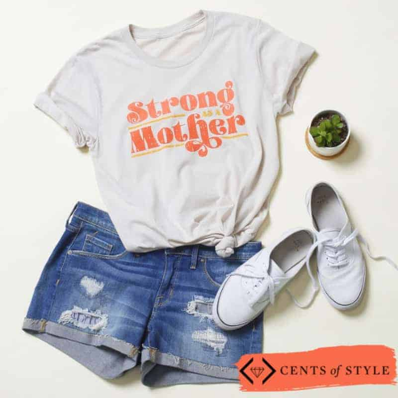 """Warrior women clothing line. A t-shirt that reads \""""strong as a mother.\"""""""