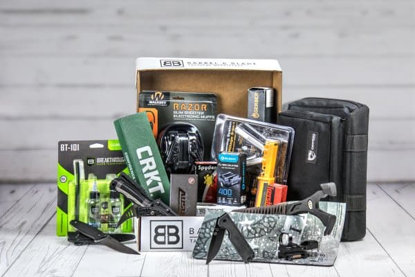 Barrel and Blade gift box focusing on tactical, survival, and EDC gear.