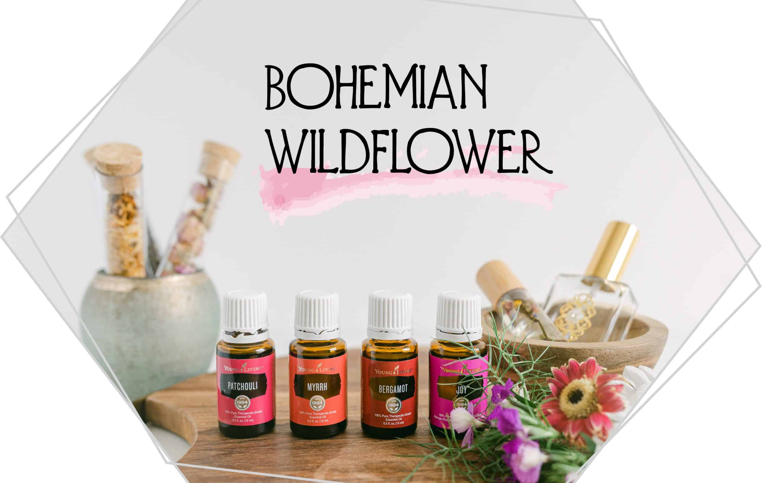 The words Bohemian Wildflower on a background along with essentialoils