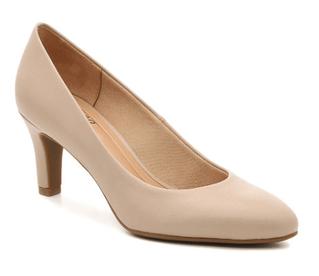 Pink hue pump heel with closed toe option.