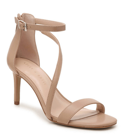 Sandal heel with pink hues and straps for secure placing.