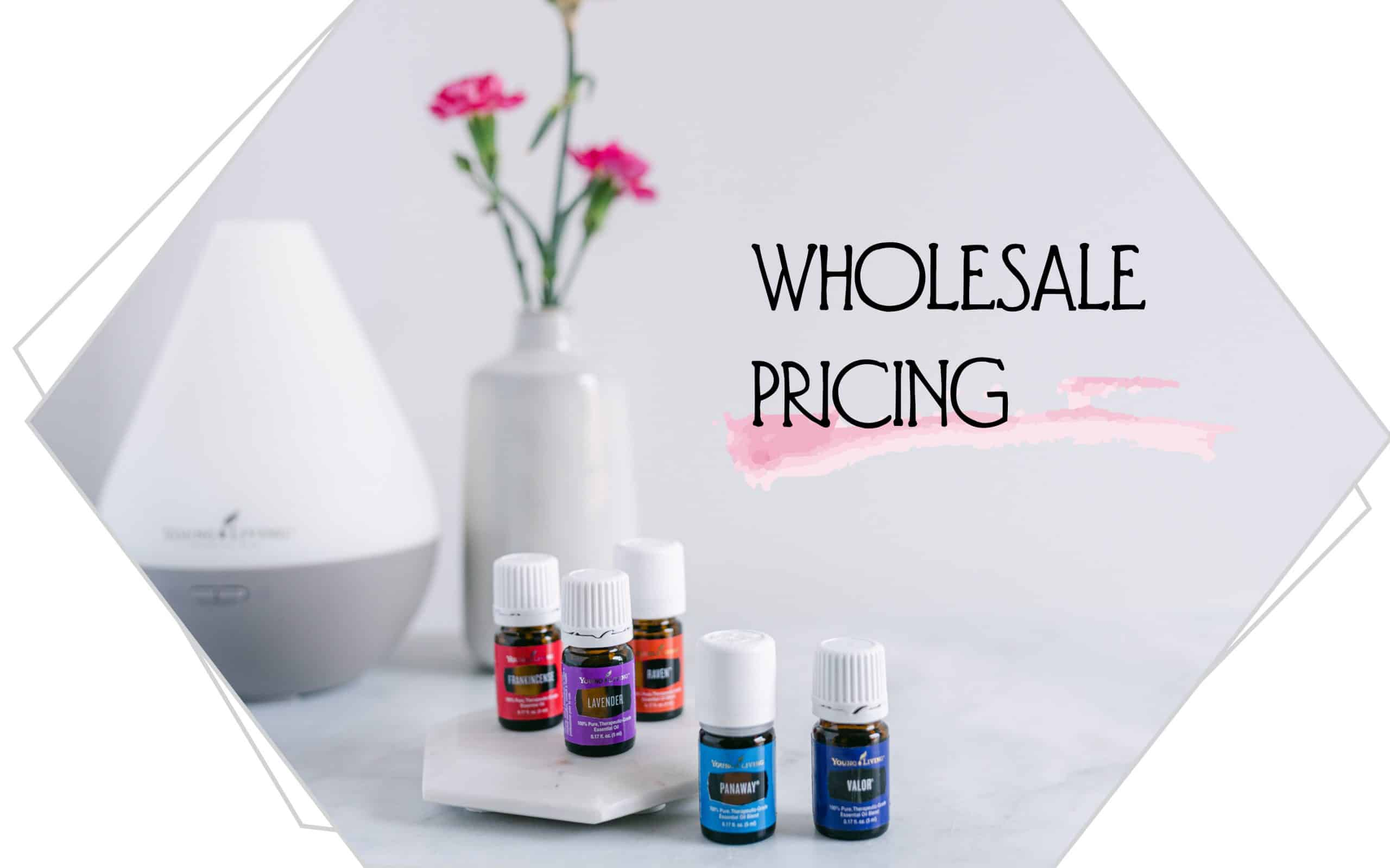 Wholesale Pricing with essential oils , a diffuser, and a vase of pink carnations.