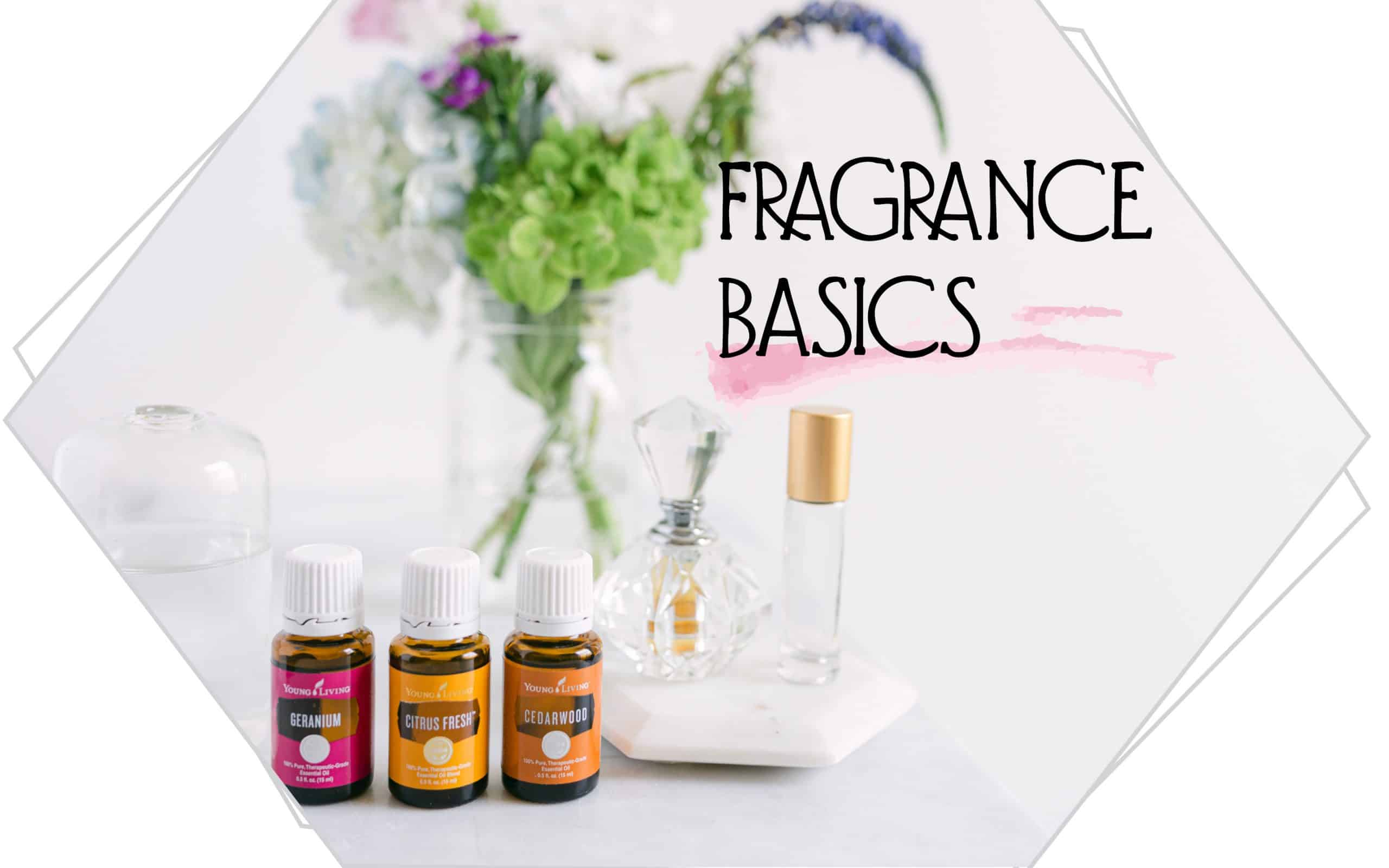 fragrance basics words with essential oil bottles on a white background