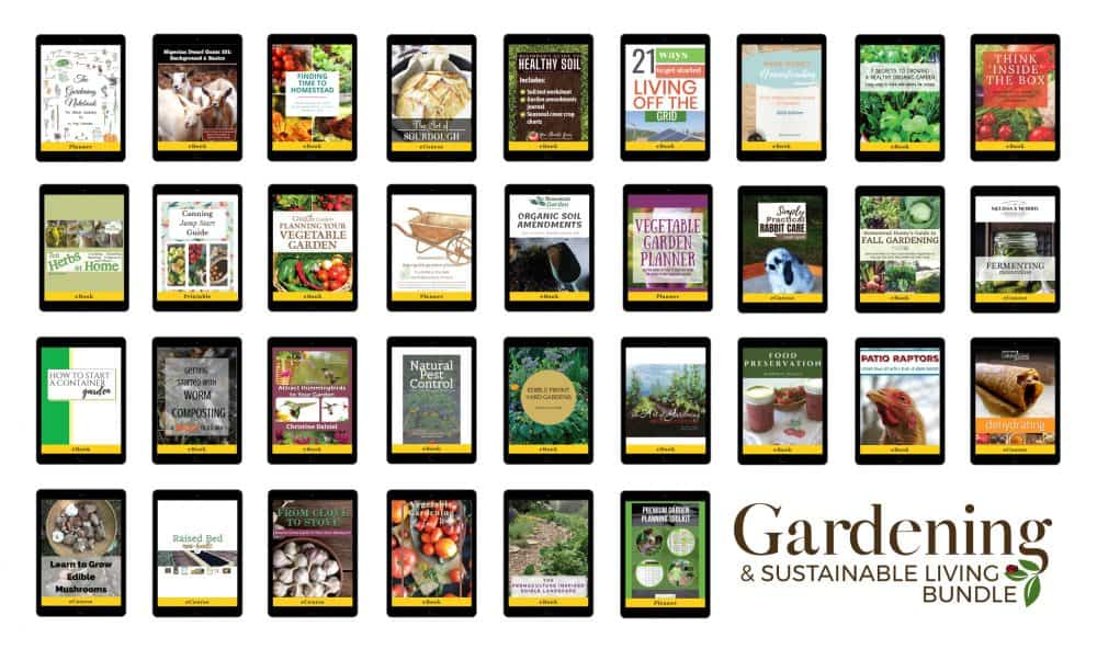 All the ebooks, ecourses, printables, and bonuses from this years Gardening and Sustainable Living Bundle.