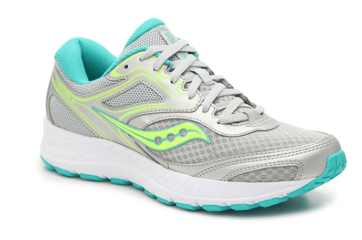 Grey, green, white and blue Saucony running shoe against a white background