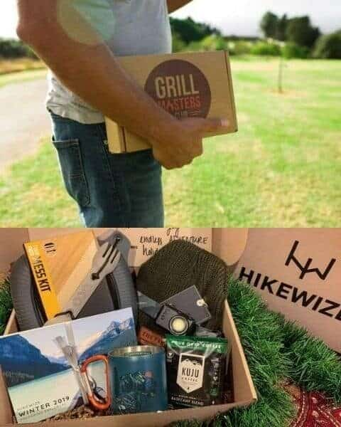 man holding a subscription box from Grill Masters