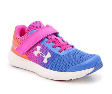 Girls multicolor Under Armour shoe on a white background