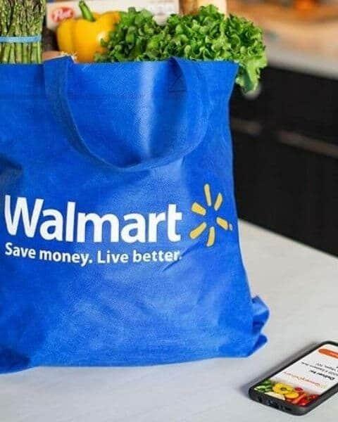 groceries inside a walmart reusable bag.