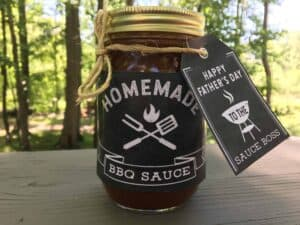 Happy Father's Day and homemade barbecue sauce printable tag.