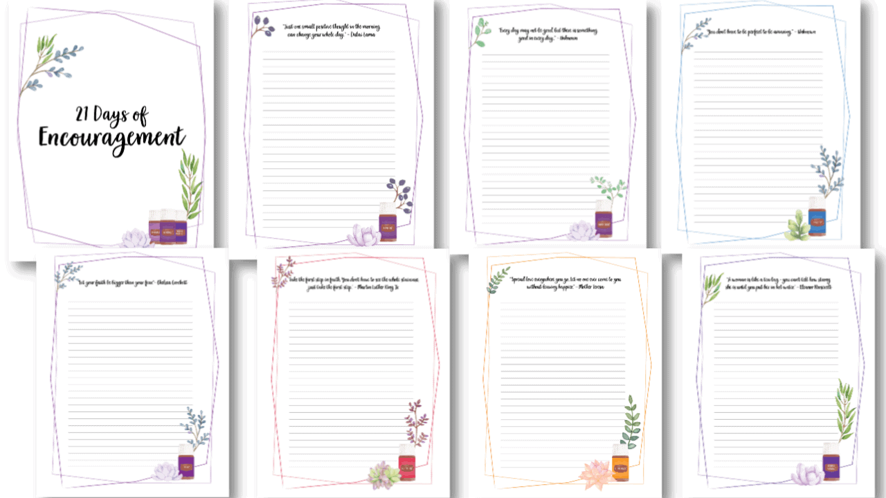 Free encouragement journal printable with a happiness challenge.