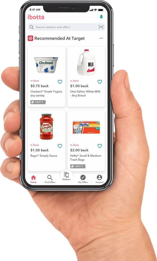 A cellphone featuring offers in the iBotta app for cash back.