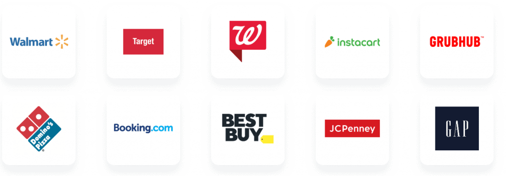 Some of the companies that are featured on the iBotta app for cash back.