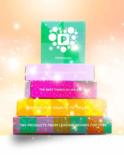 PinchMe free sample boxes with a variety of colors and a collection of products.