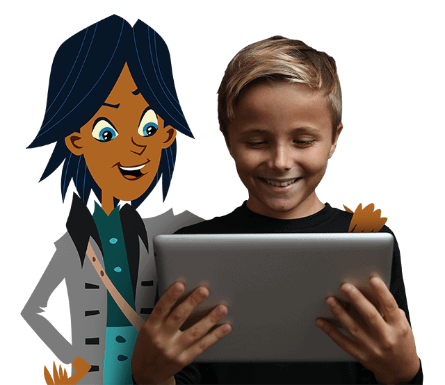 A boy learning from Revolution Math, a math learning kit available for children.