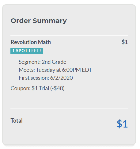 Try Revolution Math for $1 with a FREE math learning kit.