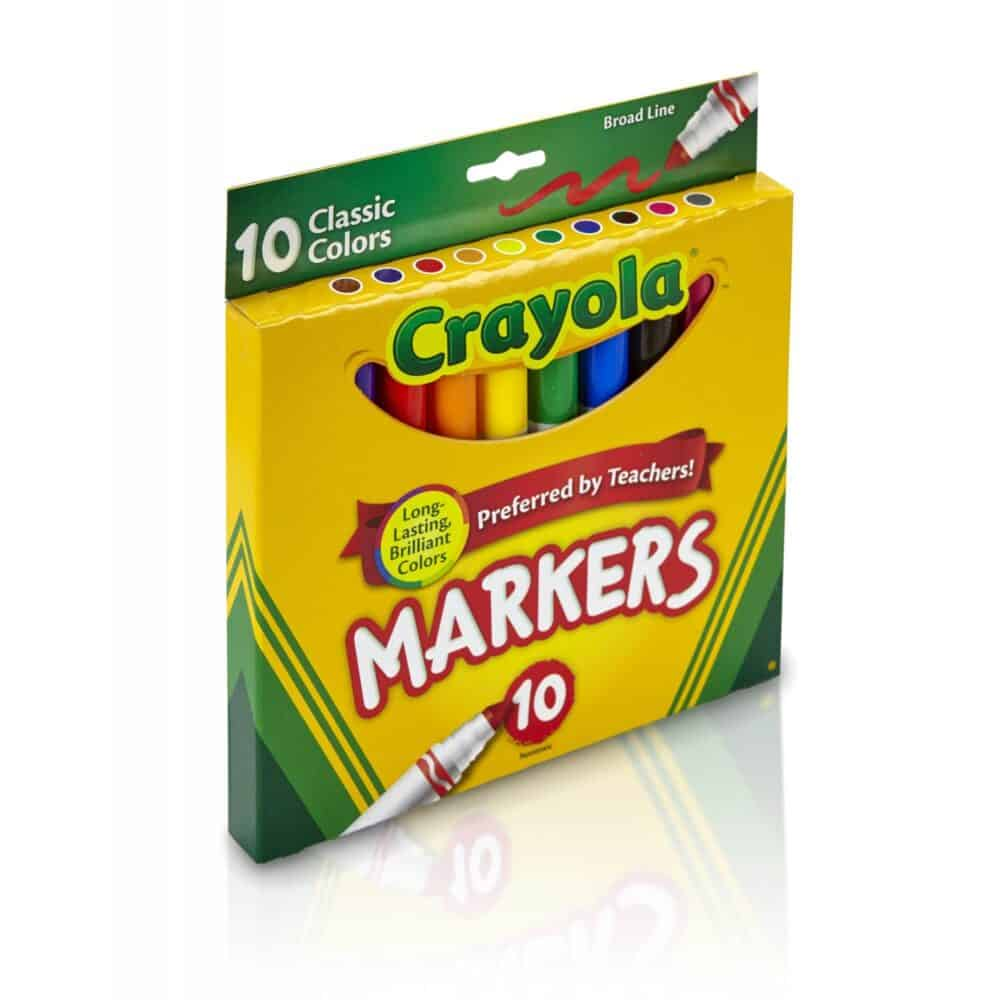 A box of Crayola classic colors markers.