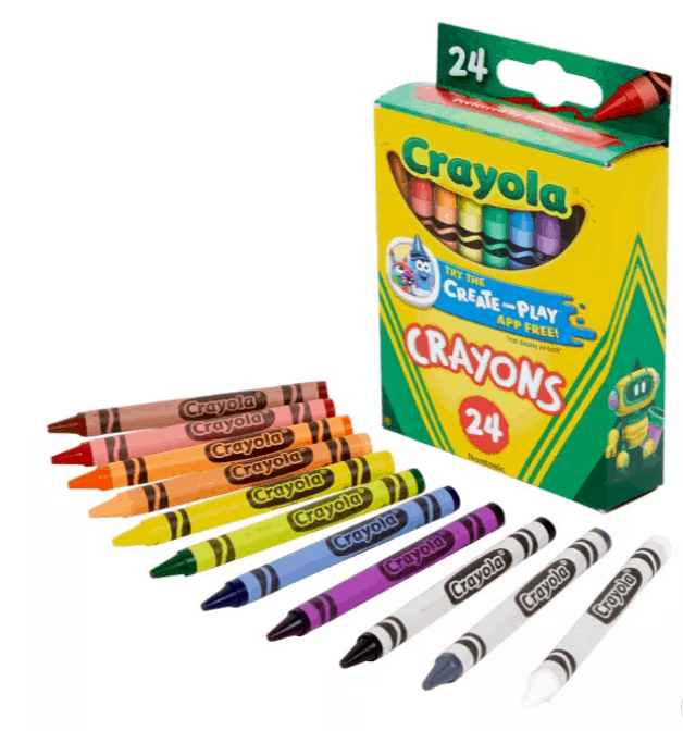 A rainbow color of Crayola crayons laid out in front of the crayon box.