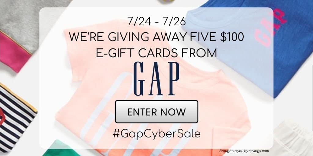 Gap cyber giveaway and sale.