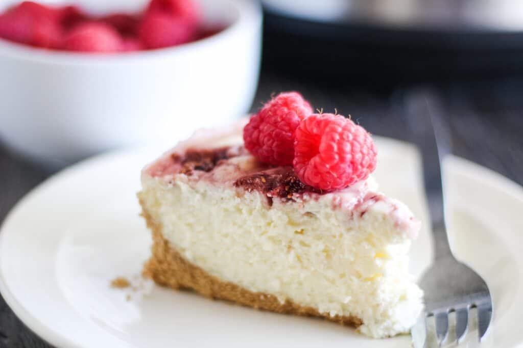 Close up of Instant Pot Raspberry Swirl Cheesecake Recipe