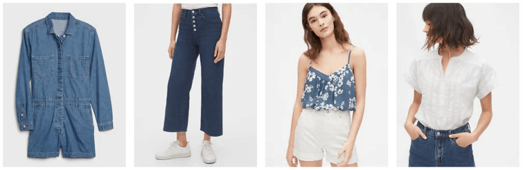 Variety of denim looks from Gap, including pants, shorts, tops, and dresses.