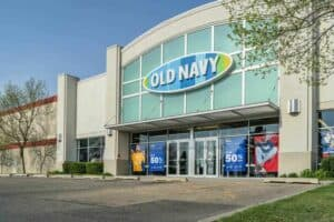 Fort Collins, CO, USA - April 30, 2018: Old Navy clothing store entrance with spring sale posters.