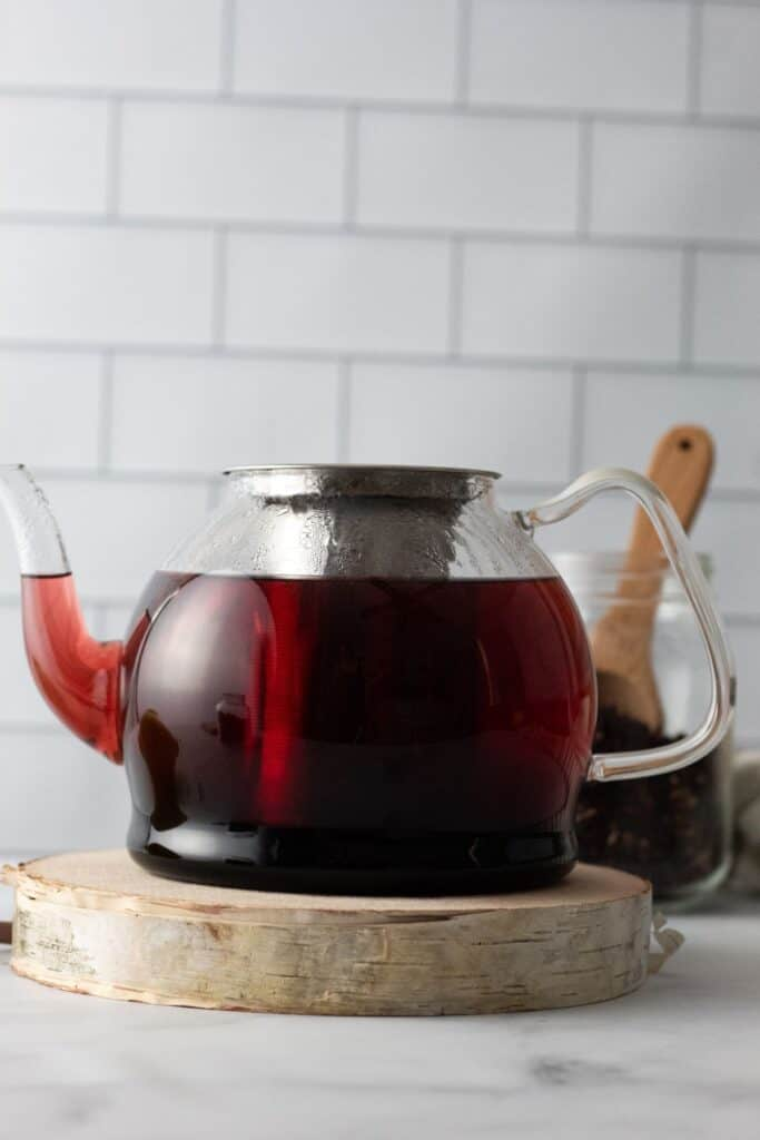 rosehip and hibiscus tea steeping in a pot