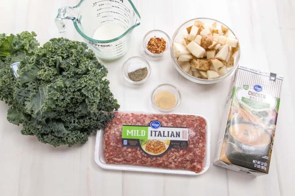 Ingredients to make Zuppa Toscana from Olive Garden