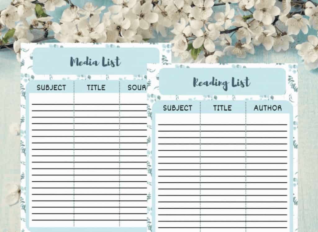 Media and reading list for homeschooling planner.