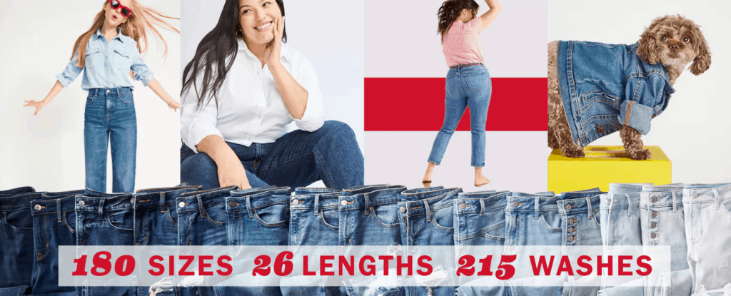Old Navy jean sale with 180 sizes and 26 lengths.