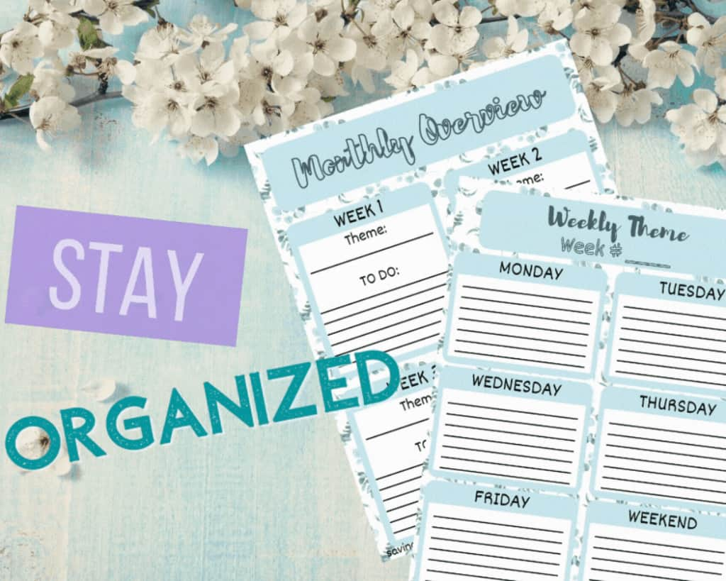 Monthly organization and weekly themes for free homeschool unit study planner.