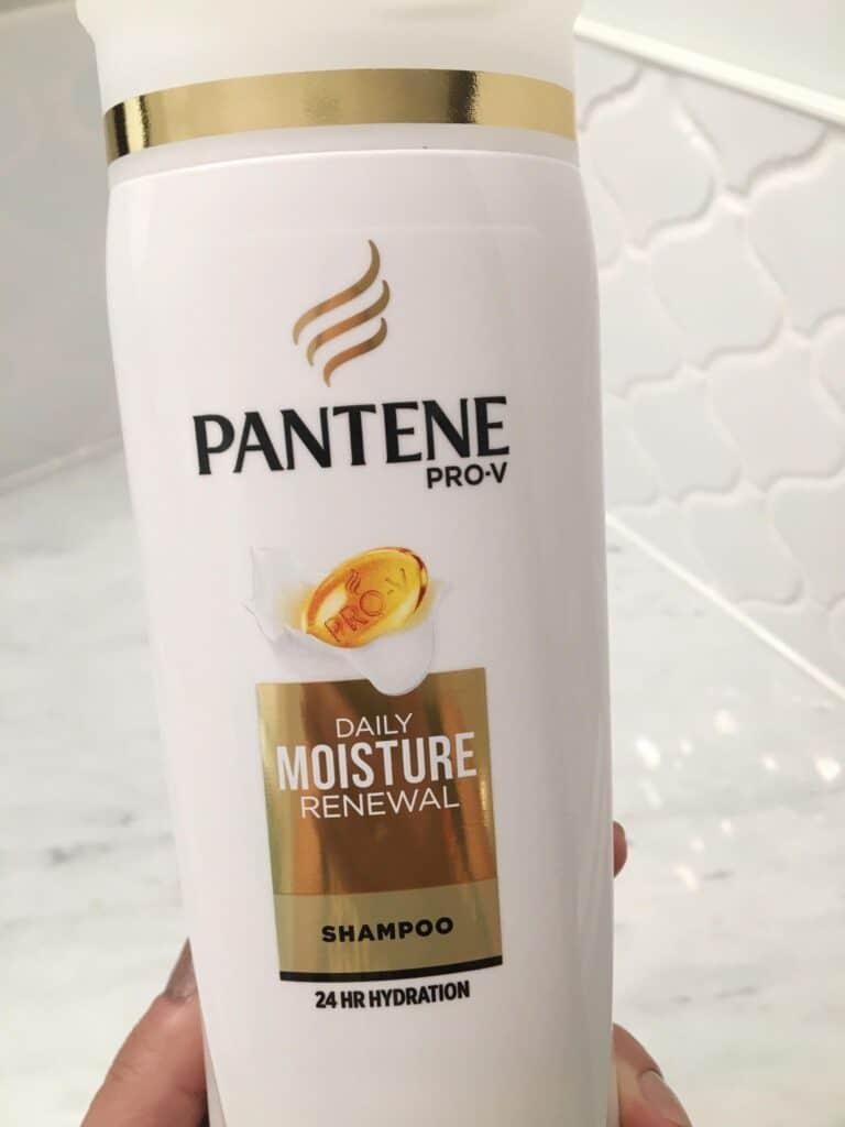 Pantene pro-v shampoo with 24 hour hydration.