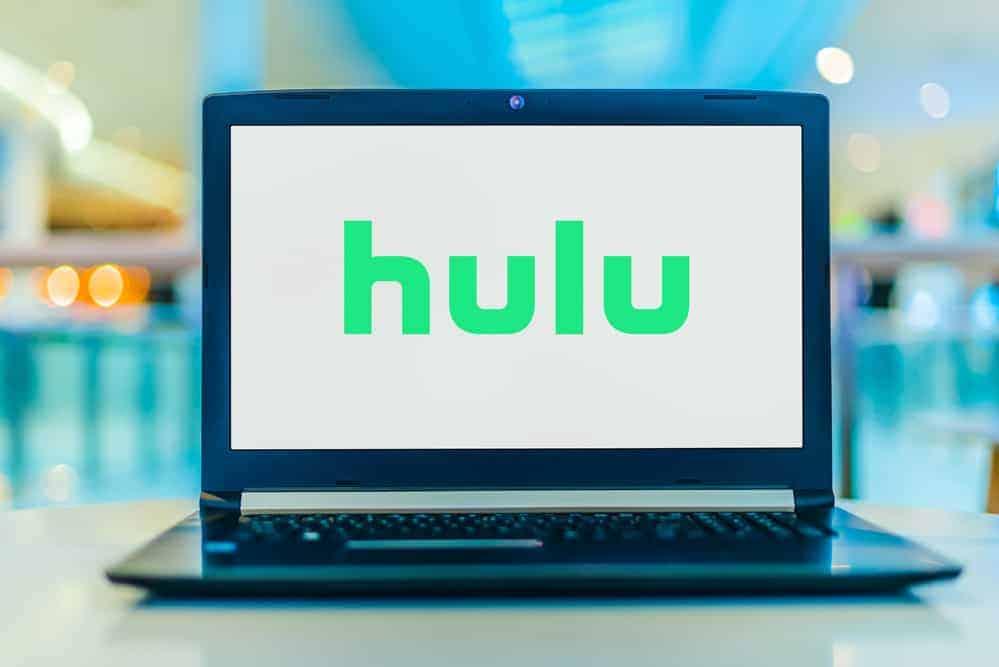 Hulu logo on laptop.