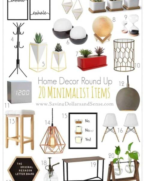 minimalist home decor items against a white background