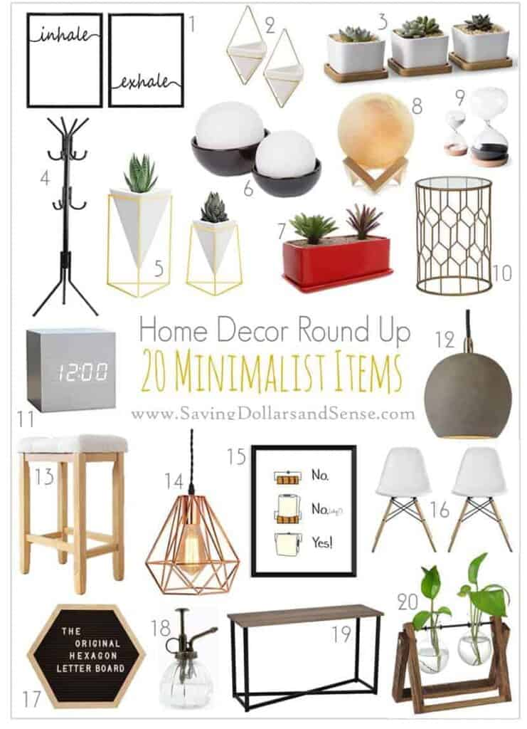 lots of different minimalist home goods.
