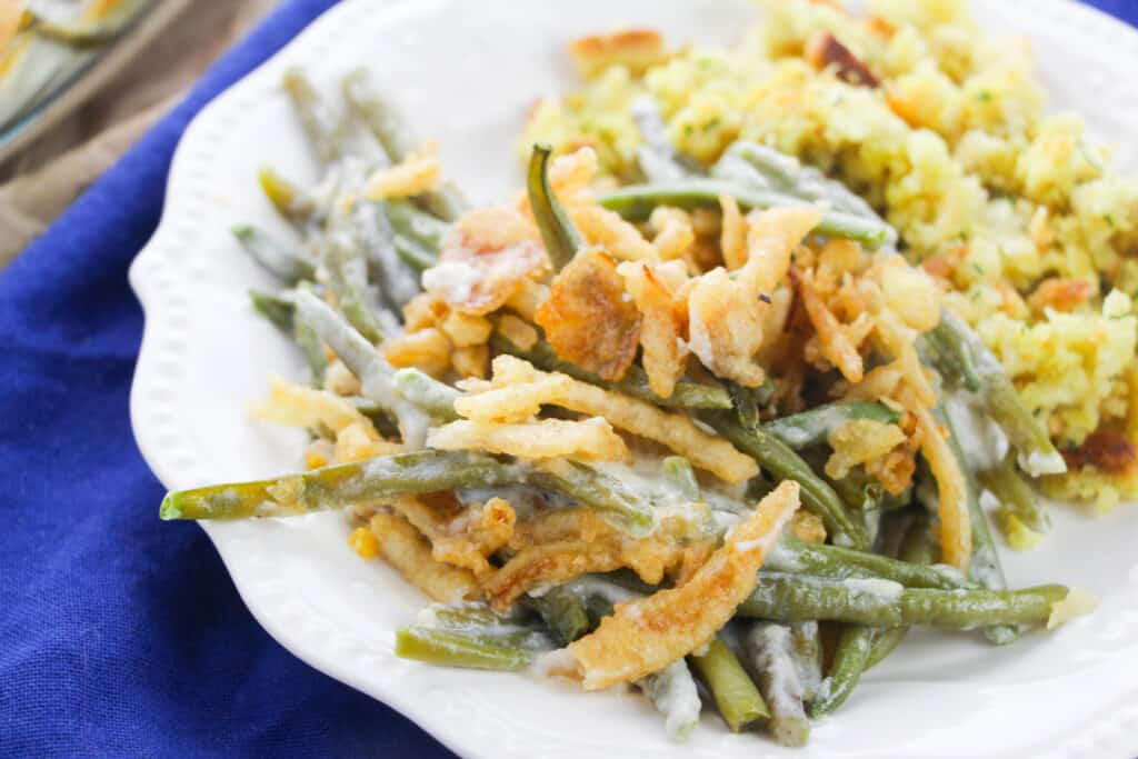plate filled with green bean casserole