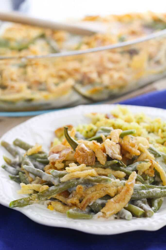 a plate filled with green bean casserole made from scratch