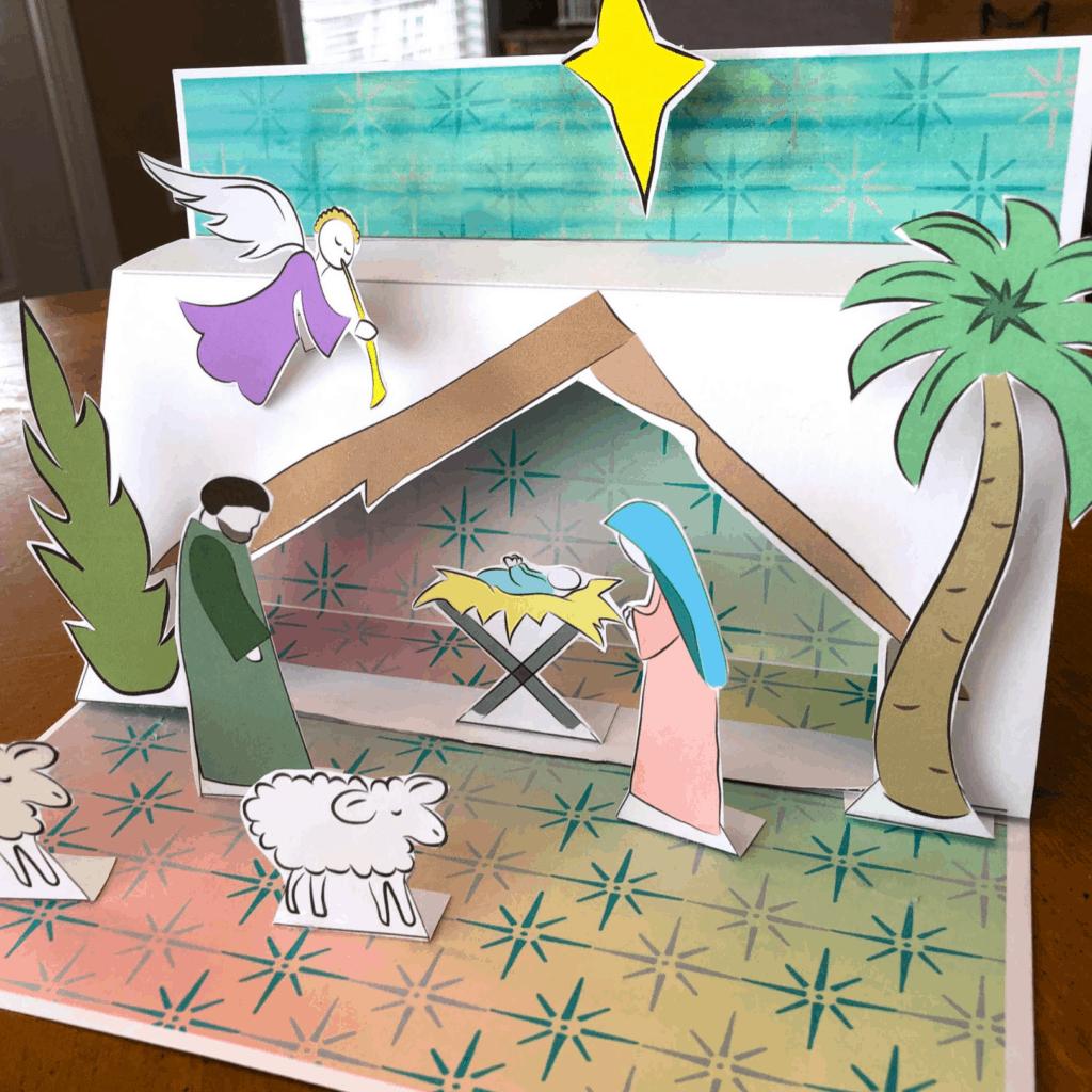cute paper manger scene