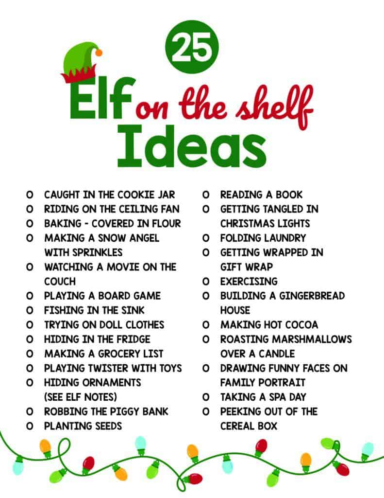 A list of 25 elf on the shelf ideas you can do from home.