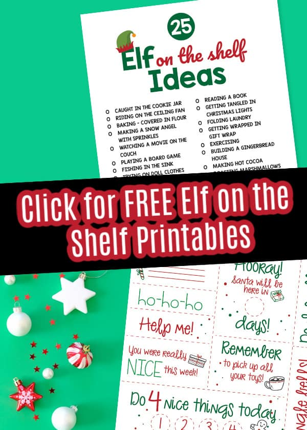 Grab a free elf on the shelf list of ideas printable.
