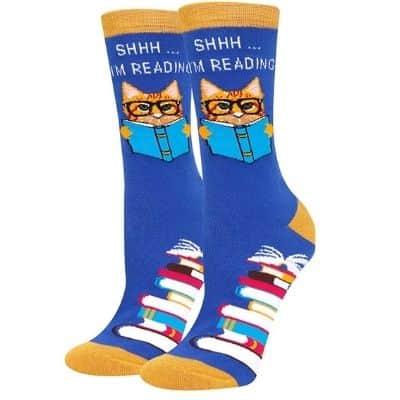 Shhh! I'm Reading Cat Socks