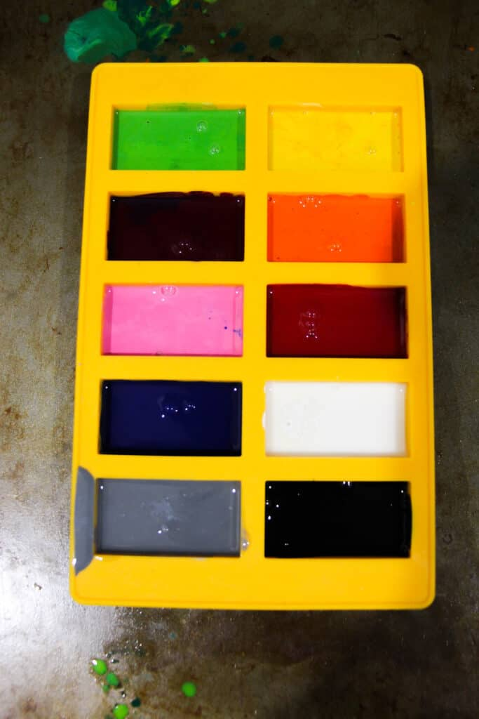 Melted crayons in the silicone mold.