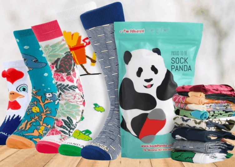 Sock Panda subscription box, including chicken socks, floral socks, and other creative socks.